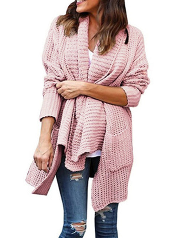 Pockets Shift Knitted Casual Sweater Cardigan