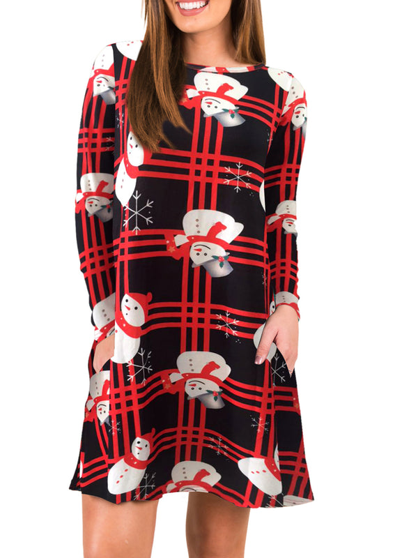 Crew Neck Women Swing Daily Casual Long Sleeve Dress