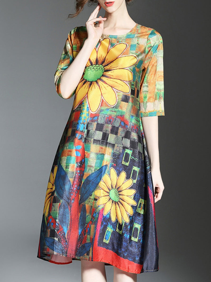 Crew Neck Half Sleeve Casual Printed Midi Dress