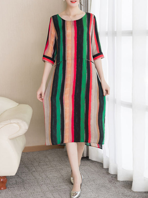 Shift Striped Crew Neck Half Sleeve Zipper Midi Dress