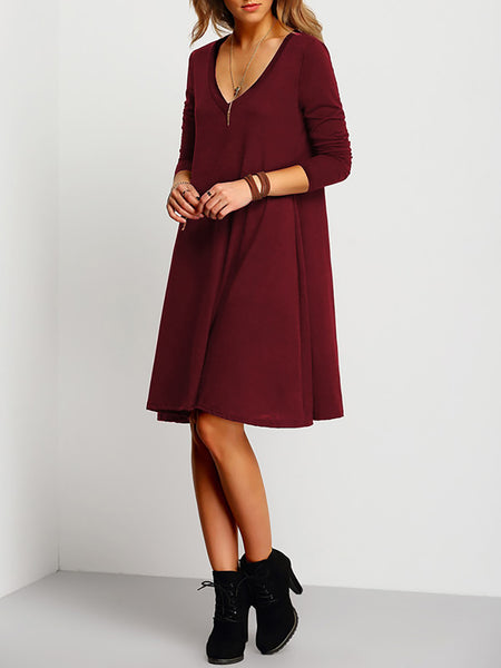 Black Basic Paneled Polyester Casual Dress