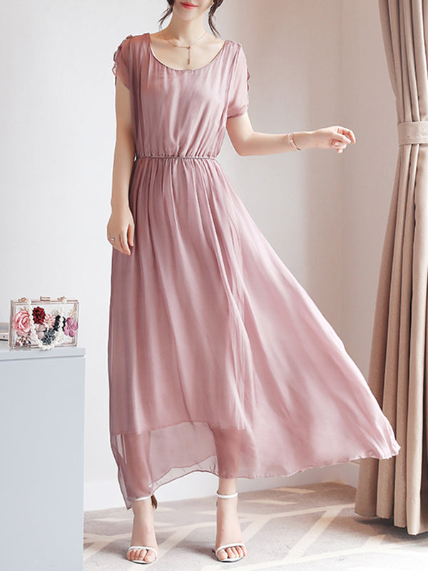 Elegant Short Sleeve Crew Neck Chiffon Maxi Dress
