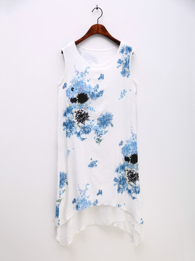 Asymmetric Printed Tiered Floral Two Piece Casual Plus Size Dress
