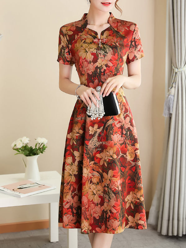 Floral Printed Stand Collar Elegant A-line Plus Size Dress