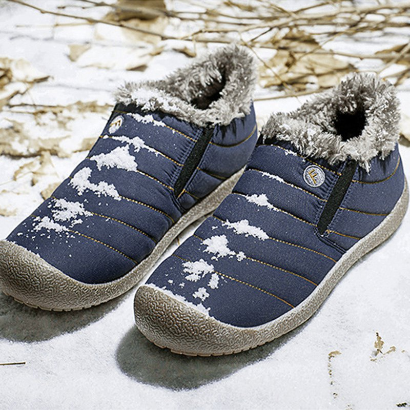 Unisex Waterproof Fur Lining Slip On Snow Boots