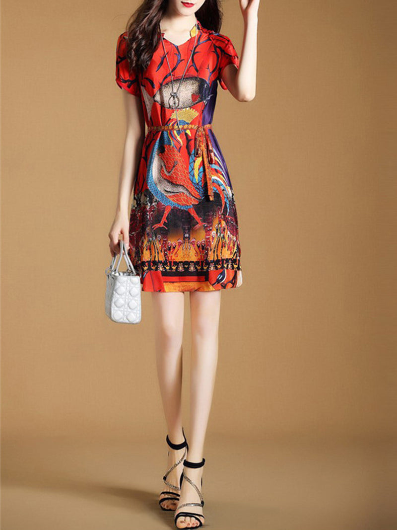 Red Graphic Printed Short Sleeve Satin Dress