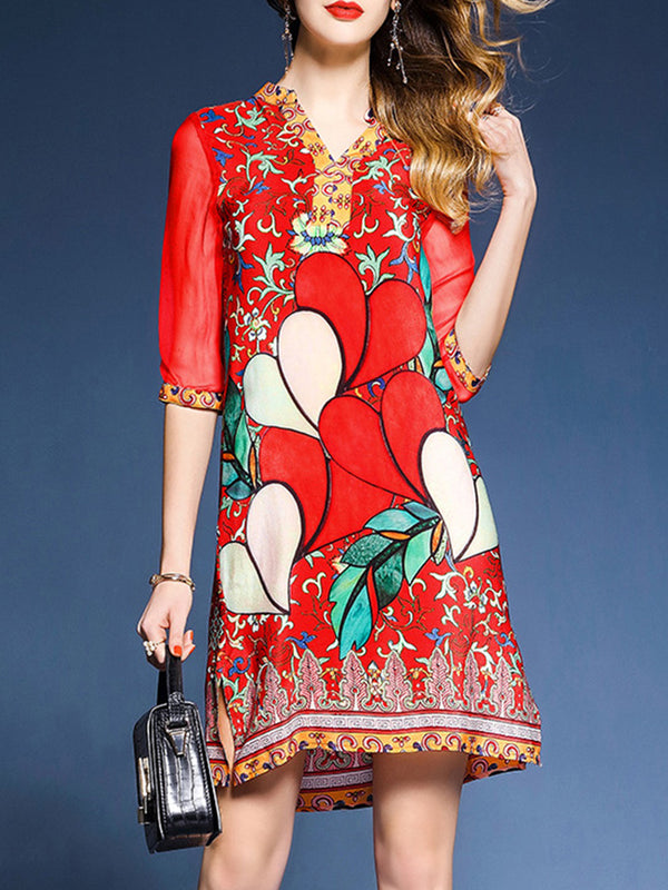 Red Half Sleeve See-through Look Paneled Floral Casual Shift Dress