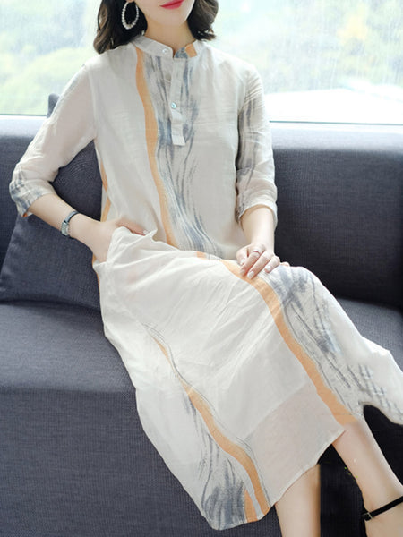 Beige Printed Stand Collar 3/4 Sleeve Casual Linen Dress