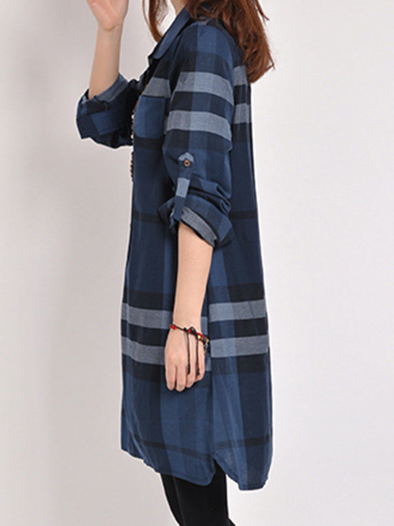 Blue Shirt Collar Checkered Long Sleeve Casual Dress