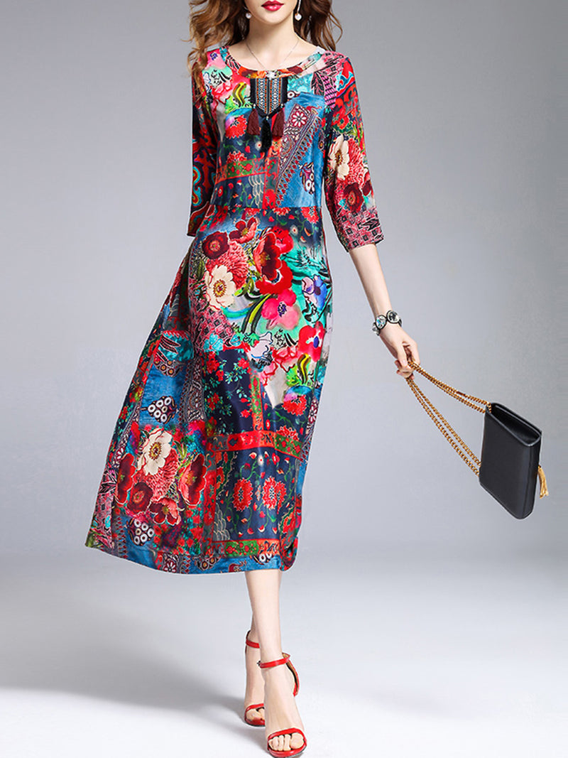 Multicolor Crew Neck Casual Dress