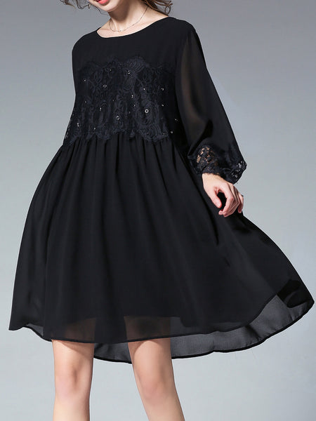Black Elegant Shift Guipure Lace Midi Chiffon Dress