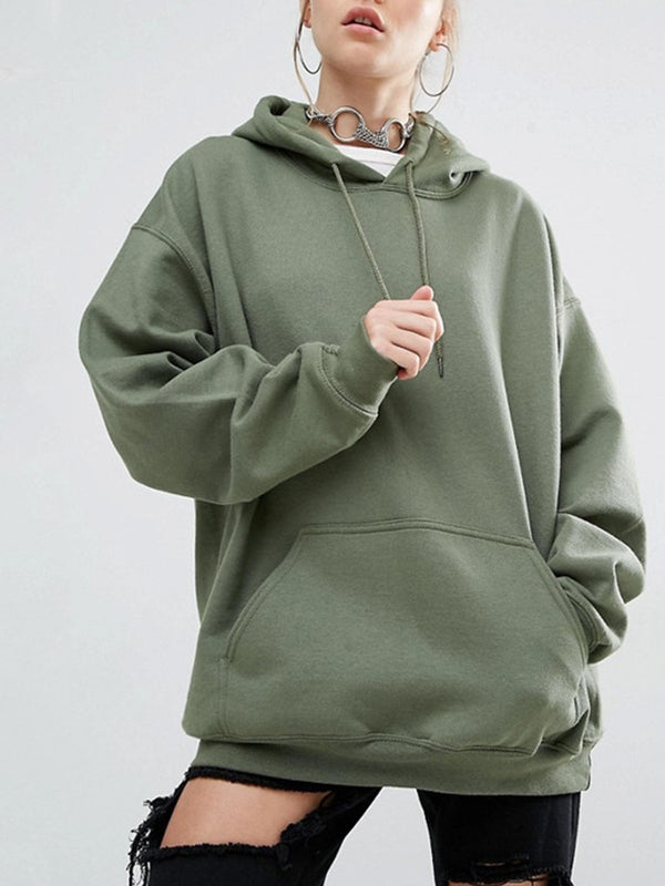 Plus Size Long Sleeve Plain Polyester Pockets Hoodie