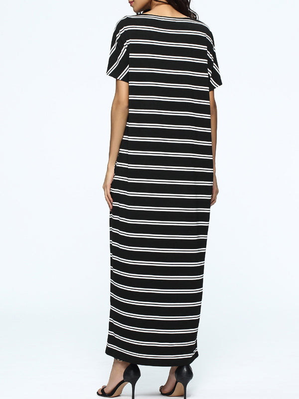 Black Casual Stripes Crew Neck Shift Maxi Dress