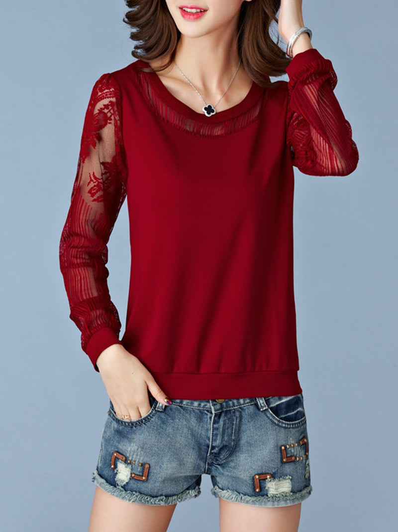 Casual  Long Sleeve Paneled Crew Neck Blouse