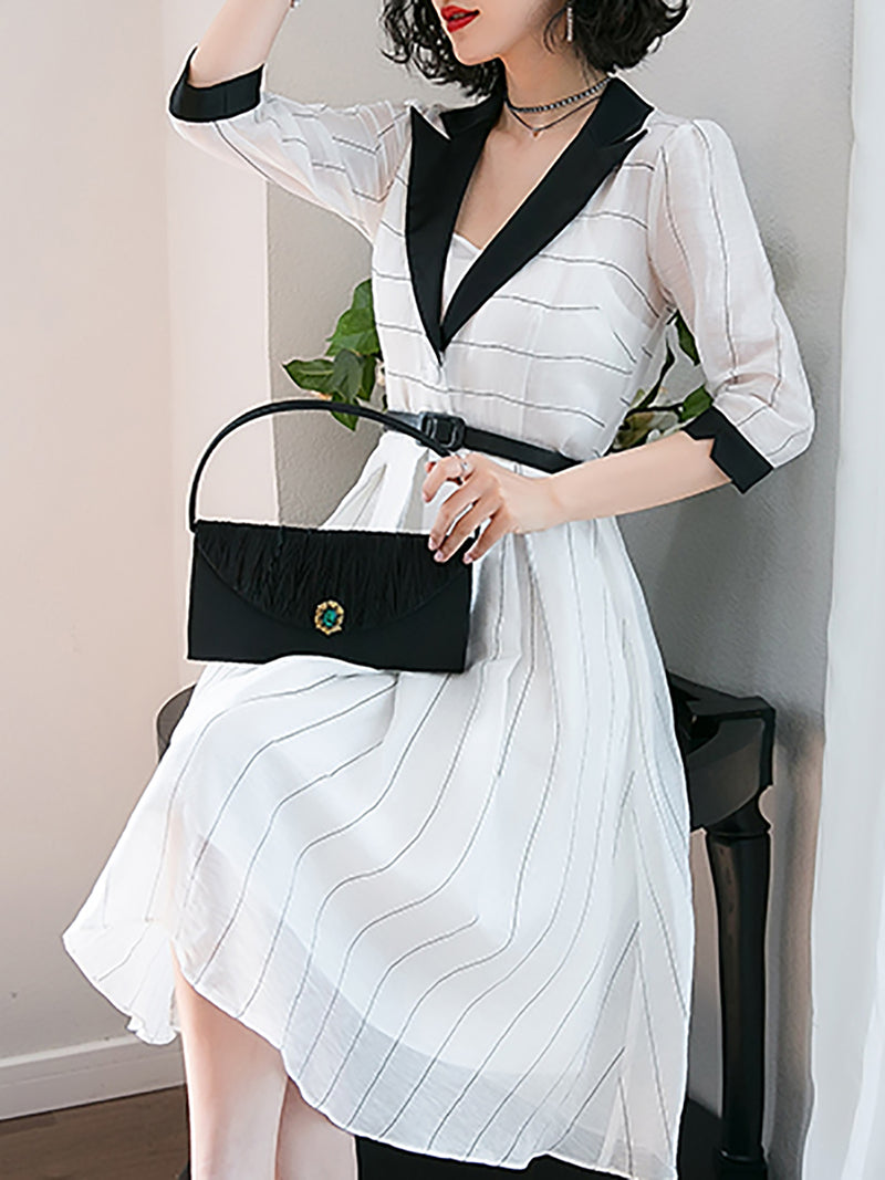 White Stripes A-line Elegant Lapel Midi Dress