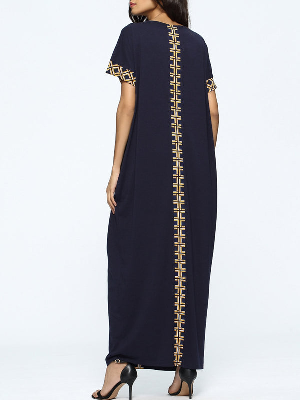 Navy Blue Tribal Crew Neck Casual Pockets Maxi Dress