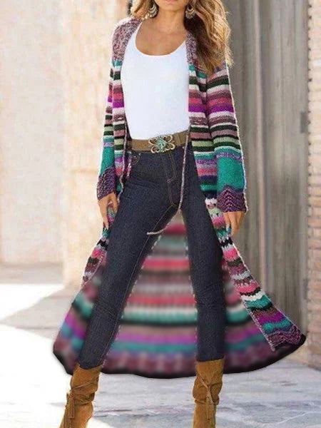 Multicolor Shift Knitted Long Sleeve Tribal Outerwear