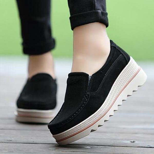 Womens Breathable Suede Round Toe Slip On Platform Shoes