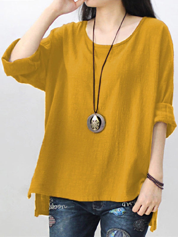 Crew Neck Solid Cotton Short Sleeve Blouse