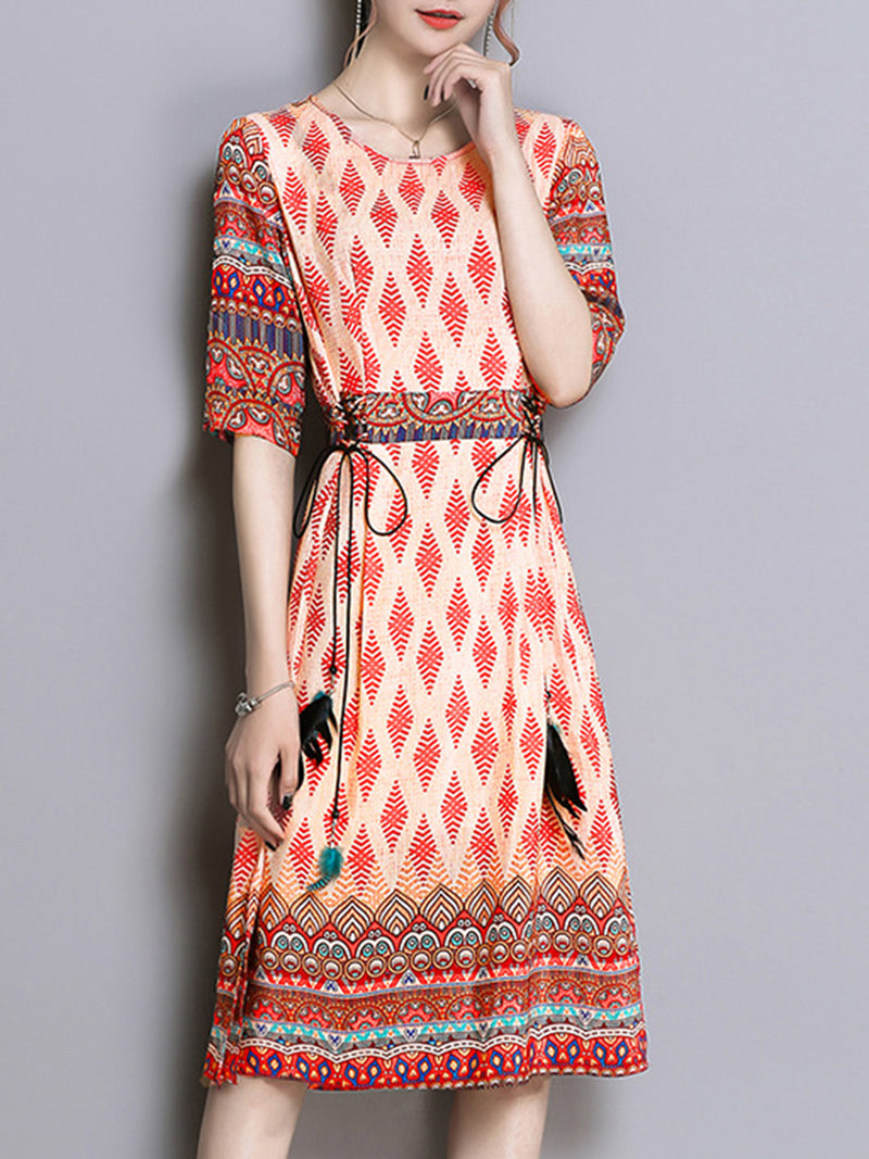 Coral Printed Crew Neck Elegant Drawcord Satin Dress