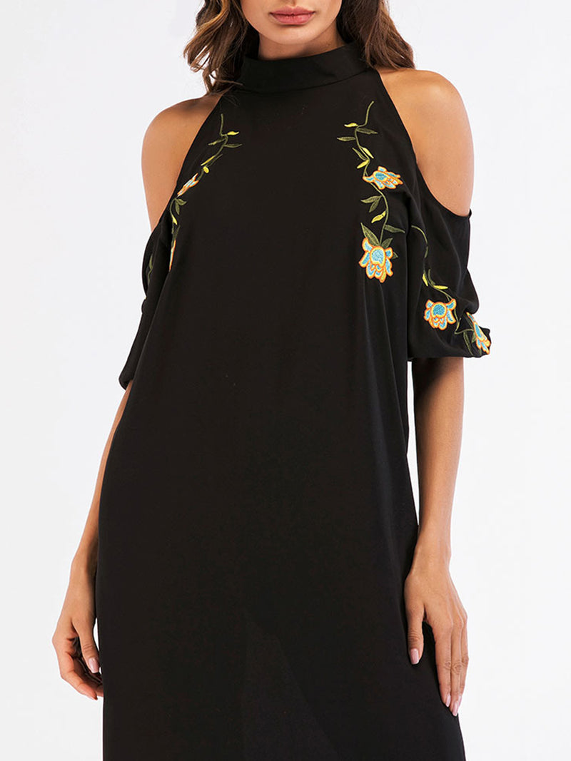 Cold Shoulder Floral-embroidered Dress