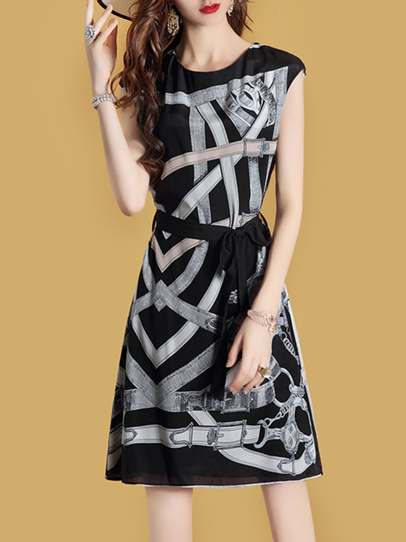 Casual  Printed Short Sleeve Striped Midi Dress