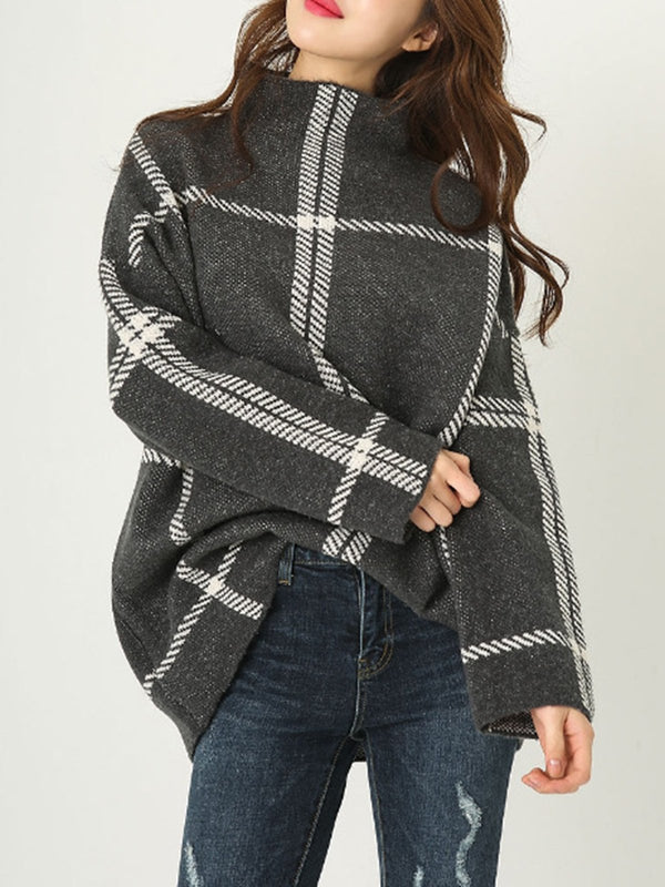 Long Sleeve Turtleneck Knitted Checkered Sweater