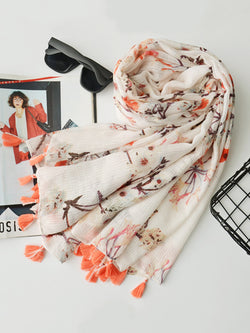 Multicolored Linen Casual Floral Scarf