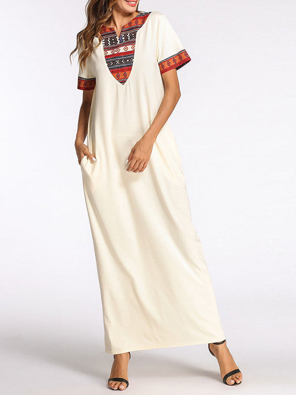 Beige Short Sleeve A-line Crew Neck Casual Maxi Dress