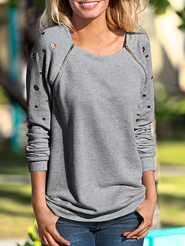 Long Sleeve Crew Neck Cotton-blend Casual T-Shirt