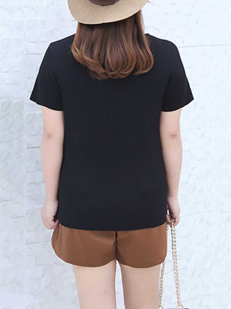 Knitted Lace up Crew Neck Shift Casual T-Shirt