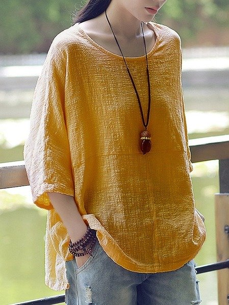 Women Casual Loose Solid O-Neck 3/4 Sleeve Cotton Linen Top