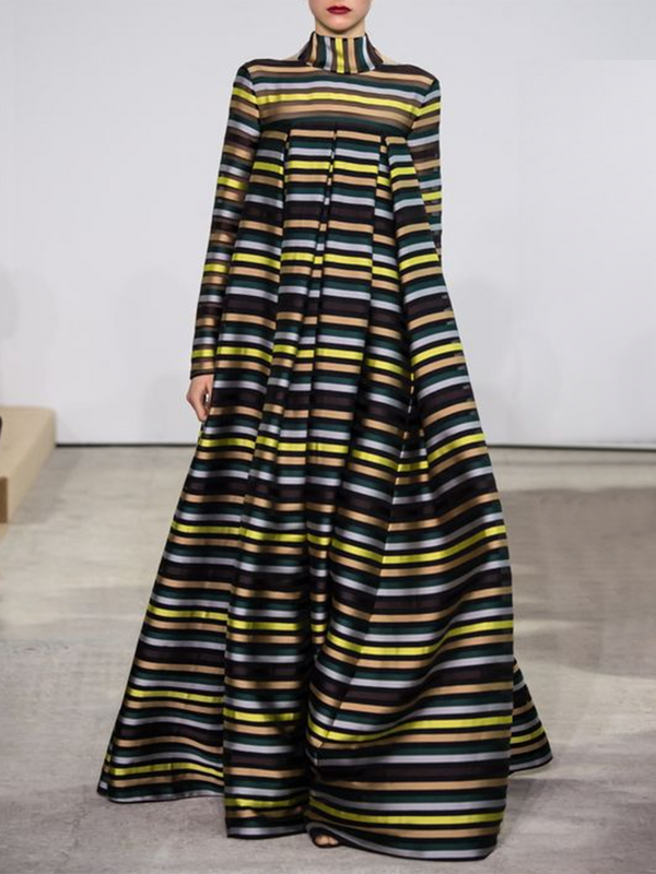 Turtleneck Prom Striped Maxi Dress