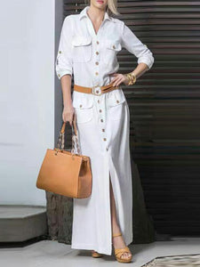 Plus Size Elegant Shirt Collar Buttoned Maxi Dress