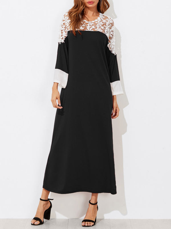 Chic Lace Paneled Color-block Maxi Dress