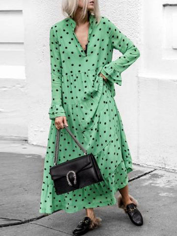 Green Polka Dots V-neck Long Sleeve Casual Chiffon Maxi Dress