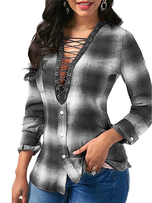 Pockets Long Sleeve Casual Blouse