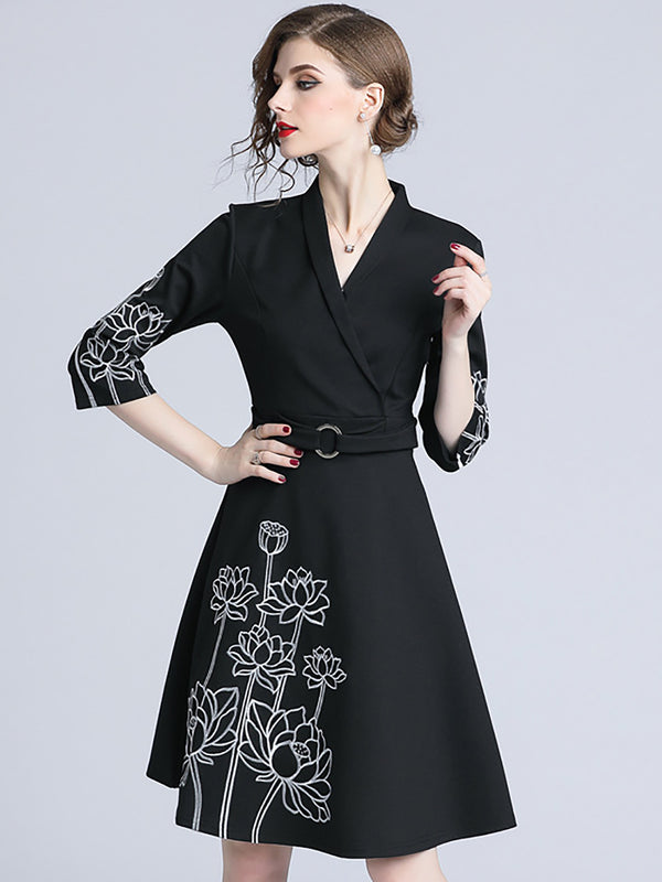 Work Elegant Embroidered Black Midi Dress