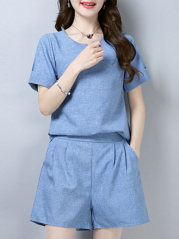 Short Sleeve Casual Pockets Solid Two Piece Women's Set