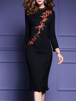 Long Sleeve Stand Collar Elegant Floral-embroidered Dress