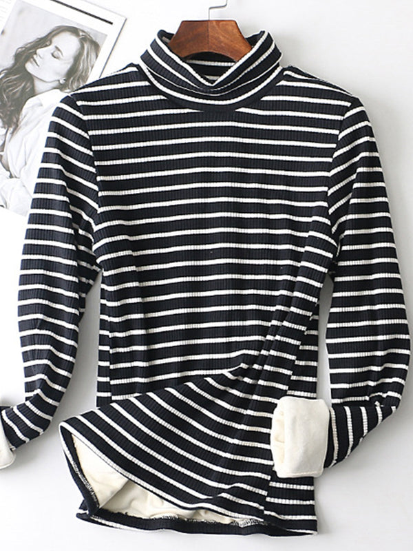 Thick warm striped high collar Color-Block Blouse
