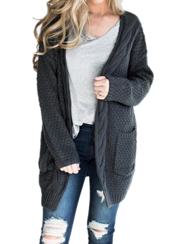 Long Sleeve Pockets Solid Knitted Plus Size Casual Cardigans