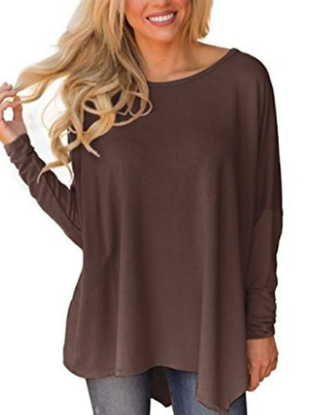 Asymmetric Casual Crew Batwing Neck T-Shirt