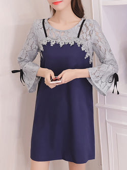 Girly Paneled Guipure Lace Plus Size Dress