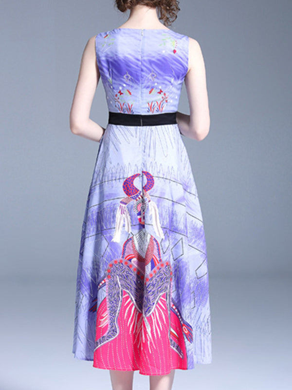 Purple Elegant Graphic Printed V-Neck Dress