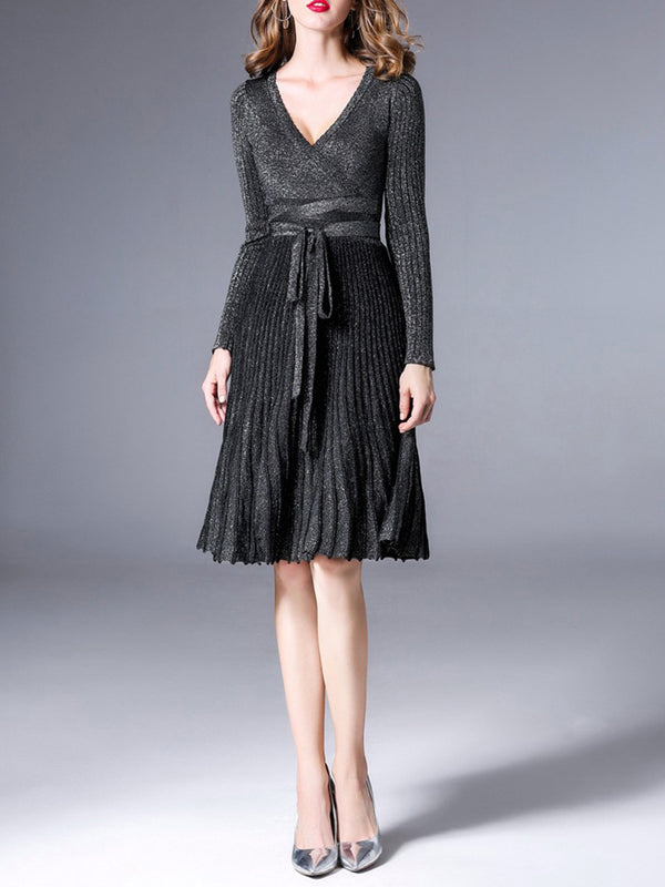 Elegant Pleated Striped Surplice Neck Knitted Dress
