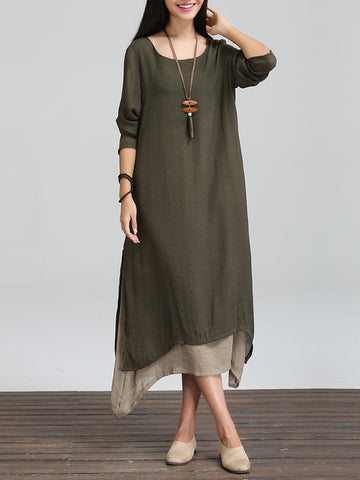 Long Sleeve Linen Asymmetric Crew Neck Casual Dress