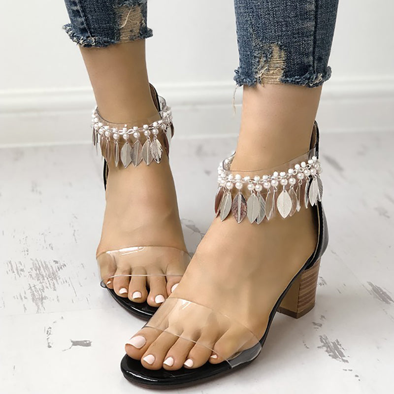 Beads Tassel Transparent Thick Strap Chunky Heeled Sandals