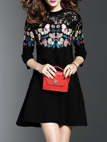 Black Floral-embroidered 3/4 Sleeve Elegant Dress