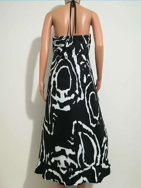 Black Asymmetrical Printed Spaghetti Maxi Dress